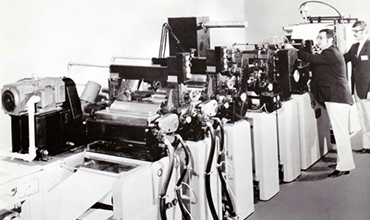 Leon Beaudoin showcasing Webtron machine in the late 70's
